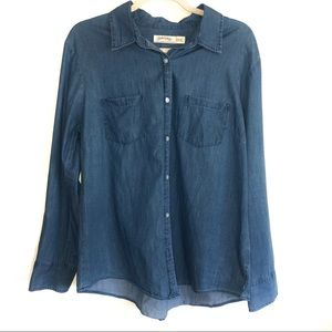 Chambray Ladies Button-down Long Sleeved Shirt